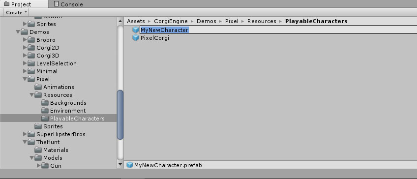 How to create your own character? | Corgi Engine Documentation